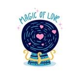 Entwerfen Sie Illustration mit netter Magie des Liebeskristalles mit Herzen Dekorationszaubererball für Druck auf t-` - Hemd, pos Stockfotos