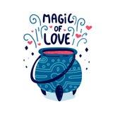 Entwerfen Sie Illustrationsmagie der Liebe mit nettem Gekritzelhexe ` s großem Kessel Plakat mit Getränkliebe in der Schüssel Dru Lizenzfreies Stockfoto