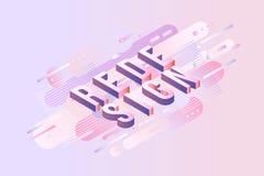 Entwerfen Sie isometrisches Design des Zeichens - Buchstaben auf Pastellhintergrund mit geometrischen Formen der flüssigen Zusamm Lizenzfreie Stockbilder