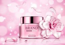 Entwerfen Sie Kosmetik Produkt, daswerbung mit für Katalog stieg, Zeitschrift Vektordesign des kosmetischen Pakets lizenzfreie abbildung