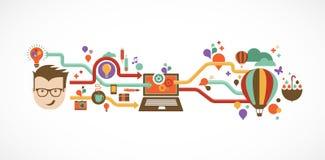 Entwerfen Sie, kreativ, Idee und Innovation infographic Lizenzfreies Stockfoto