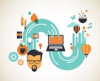 Entwerfen Sie, kreativ, Idee und Innovationskonzept lizenzfreie abbildung