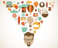 Entwerfen Sie, kreativ, Idee und Innovationskonzept vektor abbildung