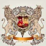 Entwerfen Sie mit heraldischen Elementen und Löwen in der Weinleseart Stockbild