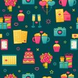 Entwerfen Sie Muster auf dunklem Hintergrund mit romantischem Element Nahtlose Tapete mit Farbnetter Ikone für Valentinsgruß ` s  Stockbild