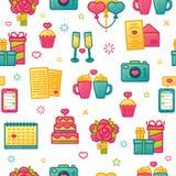Entwerfen Sie Muster auf weißem Hintergrund mit romantischem Element Nahtlose Tapete mit Farbnetter Ikone für Valentinsgruß ` s T Lizenzfreie Stockfotografie