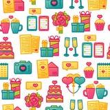 Entwerfen Sie Muster auf weißem Hintergrund mit romantischem Element Nahtlose Tapete mit Farbnetter Ikone für Valentinsgruß ` s T Lizenzfreie Stockfotos