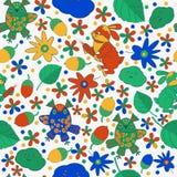 Entwerfen Sie nahtloses Muster auf dem Thema der Natur Blumen, Blätter, Eule und Kaninchen Lizenzfreie Stockfotos