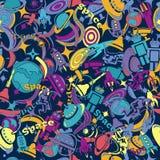 Entwerfen Sie nahtloses Muster auf dem Thema der Raumforschung Karikatur, gezeichnet im Stil der Gekritzel Stockfoto