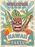 Entwerfen Sie Schablone der Retro- Plakateinladung für hawaiische Partei vektor abbildung