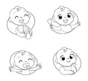 Entwerfen Sie Schablone für Säuglingsnahrung und scherzt Hygieneprodukte und -kinder` s Speicher Lizenzfreies Stockfoto