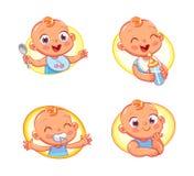 Entwerfen Sie Schablone für Säuglingsnahrung und scherzt Hygieneprodukte und -kinder` s Speicher Lizenzfreie Stockbilder