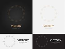 Entwerfen Sie Schablonen in den schwarzen, grauen und goldenen Farben Kreatives Mandalalogo, Ikone, Emblem, Symbol Lizenzfreies Stockfoto