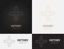 Entwerfen Sie Schablonen in den schwarzen, grauen und goldenen Farben Kreatives Mandalalogo, Ikone, Emblem, Symbol Stockfotos