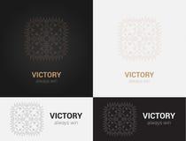 Entwerfen Sie Schablonen in den schwarzen, grauen und goldenen Farben Kreatives Mandalalogo, Ikone, Emblem, Symbol Lizenzfreie Stockfotografie
