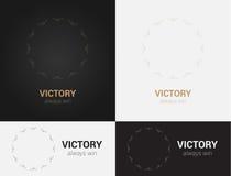 Entwerfen Sie Schablonen in den schwarzen, grauen und goldenen Farben Kreatives Mandalalogo, Ikone, Emblem, Symbol Stockfotografie