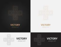 Entwerfen Sie Schablonen in den schwarzen, grauen und goldenen Farben Kreatives Mandalalogo, Ikone, Emblem, Symbol Stockbilder