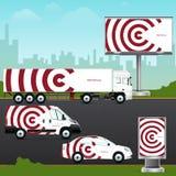Entwerfen Sie Schablonenfahrzeug, Werbung im Freien oder Unternehmensidentitä5 Stockbild