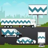 Entwerfen Sie Schablonenfahrzeug, Werbung im Freien oder Unternehmensidentitä5 Stockfotografie