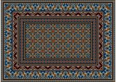 Entwerfen Sie Teppich mit ethnischer Verzierung von blauen Mustern und von bunter Mitte Stockbilder