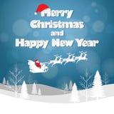 Entwerfen Sie Weihnachtsgrußkarte und guten Rutsch ins Neue Jahr-Mitteilung Stockfoto