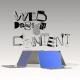 Entwerfen Sie Wort WEBDESIGN INHALT und Computer des Laptops 3d Lizenzfreies Stockfoto