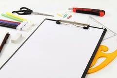Entwerfer-und Briefpapier-Materialien lizenzfreie stockbilder