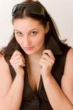 Entwerfergläser - Art und Weisefrauenportrait stockbild
