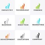 Entwicklung, Bildung, Kommunikation, Marketing, High-Tech, Finanzierung, Industrie, Geschäftslogo Stockfoto