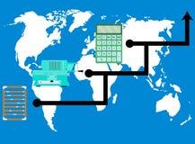 Entwicklungstaschenrechner Weltfortschritt lizenzfreie abbildung