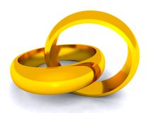 Entwined gold rings on white background. Marriage metaphor symbolised by entwined wedding rings Royalty Free Stock Photos
