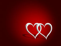 Entwined hearts. An illustration of a couple of entwined hearts over a red background Royalty Free Stock Photography