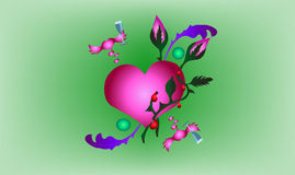 Entwined hearts. Heart covered in a rose style tattoo Royalty Free Stock Images