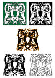 Entwined mythical wolf and dog beasts. Standing facing each other in a square design, celtic ornament style Stock Photos