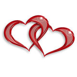 Entwined red hearts. Illustration of two entwined hearts on white background Stock Images