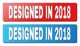 ENTWORFENER im Jahre 2018 Text auf den blauen und roten Rechteck-Knöpfen stock abbildung