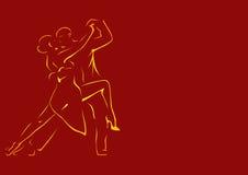 Entwürfe eines Tanzenpaares auf einem Burgunder-Hintergrund Stockfotografie