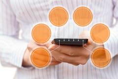 Entwurf auf dem Hintergrund des Telefons Stockfoto