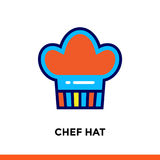 Entwurf CHEF-HUT-Ikone Vector das Piktogramm, das für Druck, Website und Darstellung passend ist Stockbild
