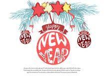 Entwurf des guten Rutsch ins Neue Jahr 2019 mit Weihnachtsball, Baum, Sterne Vektorillustrations-Grußkartenillustration auf Weiß vektor abbildung