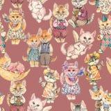 Entwurf des nahtlosen Musters Unterschiedliche gezeichnetes eigenhändig Aquarell der Märchen Katze vektor abbildung