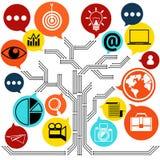 Entwurf des Netzkontaktes und des Geschäftsnewsletters Stockfotografie