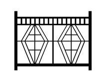 Entwurf eines Zauns lokalisiert auf weißem Hintergrund 3d übertragen image Stockbilder