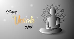 Entwurf für einen glücklichen Vesak-Tag mit dem Konzept der heiligen buddhistischen Liebe lizenzfreie abbildung