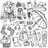Entwurf flüchtig Frauen Oberbekleidung, Zubehör eingestellt vektor abbildung