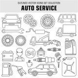 Entwurf gesetzte autoservice Ikonen Lizenzfreies Stockfoto