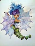 Entwurf, Grün, Farbe, Blatt, Blau, Natur, Dekoration, Muster, Blumen, Frau lizenzfreie abbildung