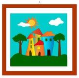 Entwurf mit Häusern und Bäumen Lizenzfreies Stockfoto