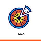Entwurf PIZZA-Ikone Vector das Piktogramm, das für Druck, Website und Darstellung passend ist Lizenzfreie Stockfotos