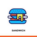 Entwurf SANDWICH-Ikone Vector das Piktogramm, das für Druck, Website und Darstellung passend ist Lizenzfreies Stockbild